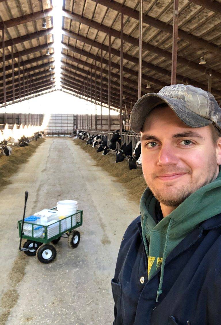MDTP student Andrew Steinberger: Sample collection on a Wisconsin dairy farm.
