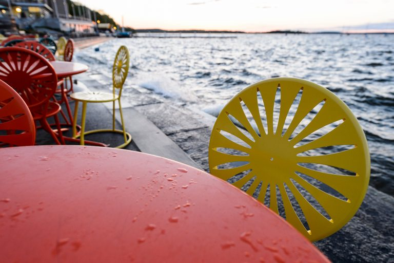 Memorial Union chairs after rain.